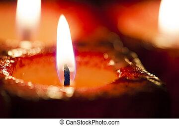 蝋燭, フォーカス, 赤, から