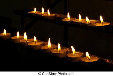 蝋燭, 中に, a, 教会