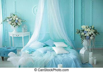 蝋燭, 寝室, 調子, 装飾, 青, 柔らかい
