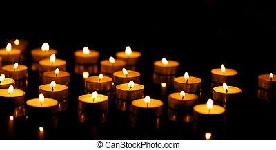 蝋燭, 深さ, 浅い, 燃焼, フィールド