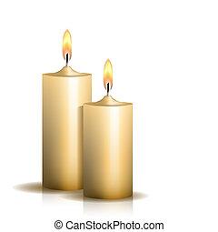 蝋燭, 白, 2, 燃焼, バックグラウンド。