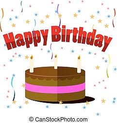 蝋燭, 隔離された, birthday, 背景, ケーキ, 白