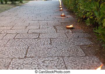 蝋燭, 飾られる, 通り道