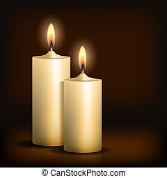 蝋燭, 黒, 2, 燃焼, バックグラウンド。