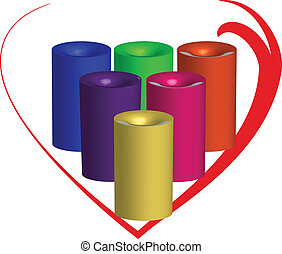 蝋燭, 3d, ∥で∥, a, 心, のまわり
