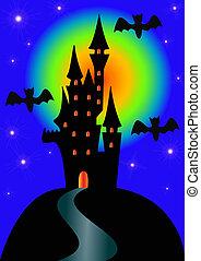 蝙蝠, 夜晚, 万圣節, 鎖, 假期
