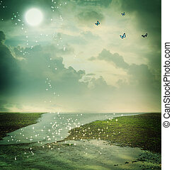 蝴蝶, 以及, 月亮, 在, 幻想, 風景