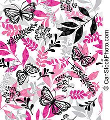 蝴蝶, 以及, 葉子, 重覆, 圖案