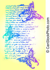 蝴蝶, 信, 背景, 插圖