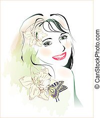蝴蝶, 年轻, watercolor, 肖像, 女孩, 花