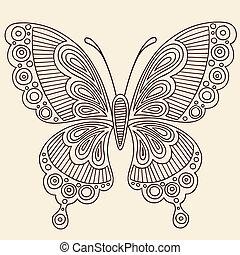 蝴蝶, 心不在焉地亂寫亂畫, 指甲花, 矢量