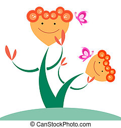 蝴蝶, 心, 花