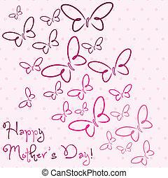 蝴蝶, 母親` s, format., 矢量, 天, 卡片, 愉快