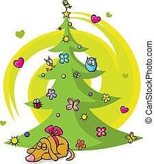 蝴蝶, 狗, 花, 树, 鸟, 星, 圣诞节