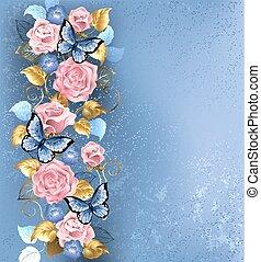 蝴蝶, 粉紅玫瑰花