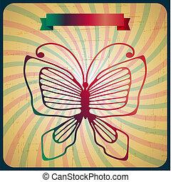 蝴蝶, 老, 海報, 背景。, retro, scrach