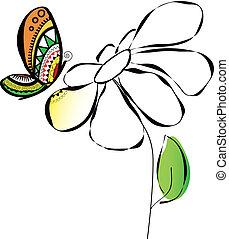蝴蝶, 花, 插圖, 鮮艷