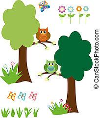 蝴蝶, 花, 树, 猫头鹰, 矢量