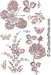 蝴蝶, 花, 鳥, 元素