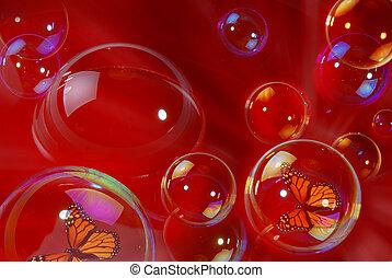 蝴蝶, 裡面, 氣泡, 肥皂