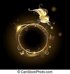蝴蝶, 黃金, 旗幟, 輪