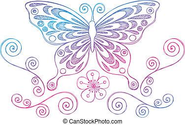 蝶, いたずら書き, sketchy, ベクトル