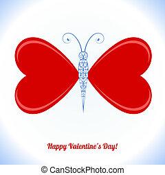 蝶, おめでとう, 形態, バレンタイン, -, 翼, 心, 日, 赤