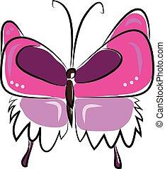 蝶, かわいい, 色, イラスト, 図画, ピンク, ベクトル, 絵, ∥あるいは∥