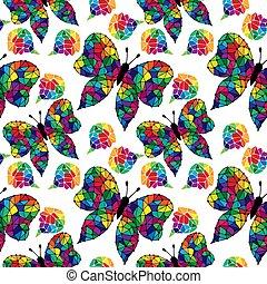 蝶, わずかしか, カラフルである, パターン, 抽象的, seamless