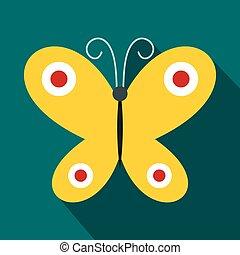 蝶, アイコン, スタイル, 平ら