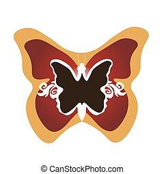 蝶, イラスト, 枠にはめられた