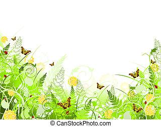 蝶, イラスト, 花, 渦巻, フレーム, 群葉
