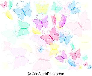 蝶, カラフルである, backg, 抽象的