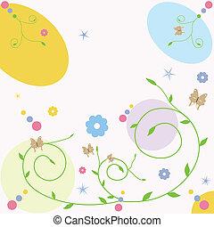 蝶, カード, 挨拶, 花