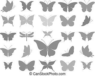 蝶, グラフィック, シルエット