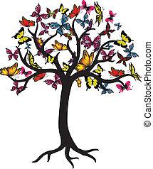 蝶, グラフィック, 木, ベクトル