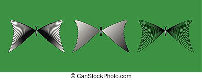 蝶, シルエット, セット