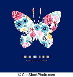 蝶, シルエット, パターン, fairytale, ベクトル, 花, フレーム