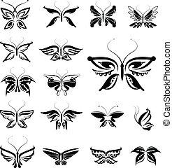 蝶, シルエット, 隔離された