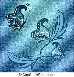 蝶, デニム, 手ざわり, 抽象的