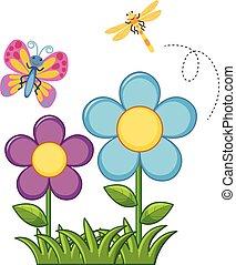蝶, トンボ, 花園
