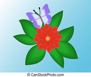 蝶, バックグラウンド。, 花