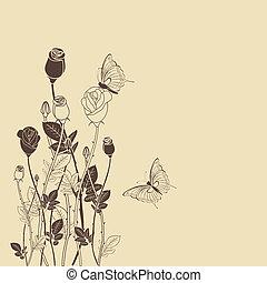蝶, バラ, 花, カード