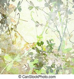 蝶, パステル, 花, アートワーク