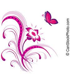 蝶, パターン, 花