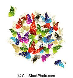 蝶, フレーム, デザイン, あなたの