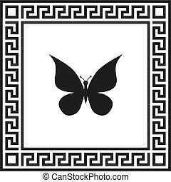 蝶, フレーム, 装飾, ギリシャ語, ベクトル, アイコン