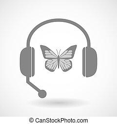 蝶, ヘッドホン, 援助, リモート, アイコン
