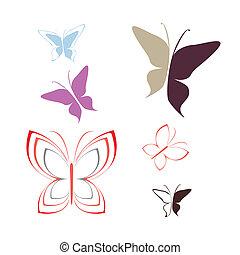 蝶, -, ベクトル, アウトライン, アイコン