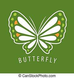 蝶, ベクトル, 緑, デリケートである, 背景, ロゴ